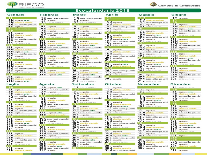 Calendario Raccolta Differenziata Rieti.Raccolta Differenziata Ecco L Ecocalendario 2018 Comune