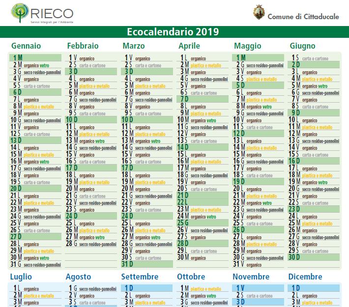 Calendario Raccolta Differenziata Rieti.Raccolta Differenziata Ecco L Ecocalendario 2019 Comune